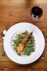 Salmon with wild garlic pasta