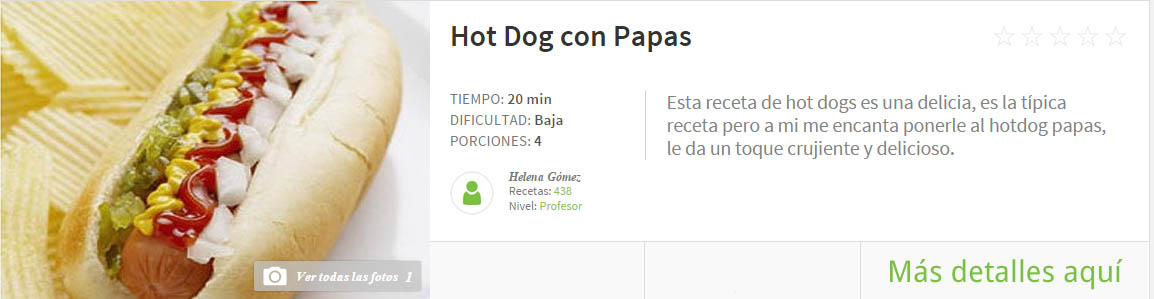 hot dog con papas