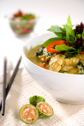 Thai Green Curry Chicken In a Bowl