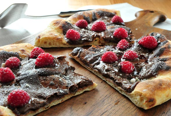 Pizza de chocolate con Frambuesa